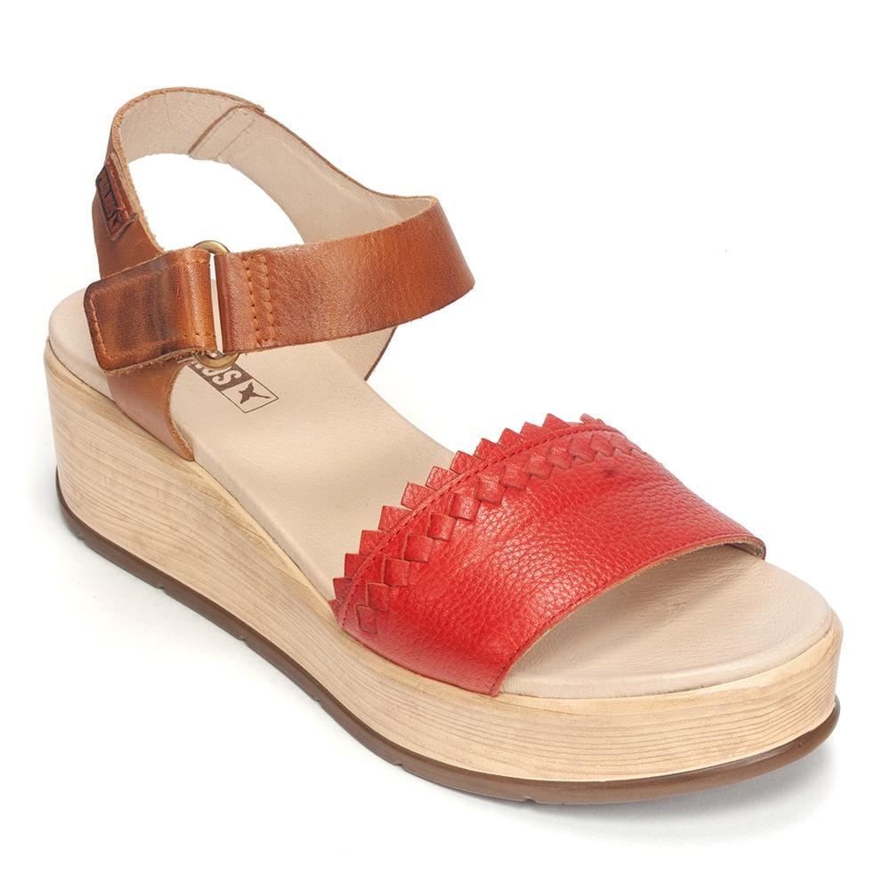 Pikolinos Costa Cabana Leather Platform Wedge W3X-1747BGC1 Sandal Shoe
