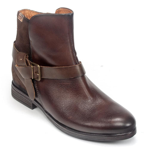 Pikolinos Ordino W8M-8919 Women's Leather Buckle Vintage Bootie Shoe