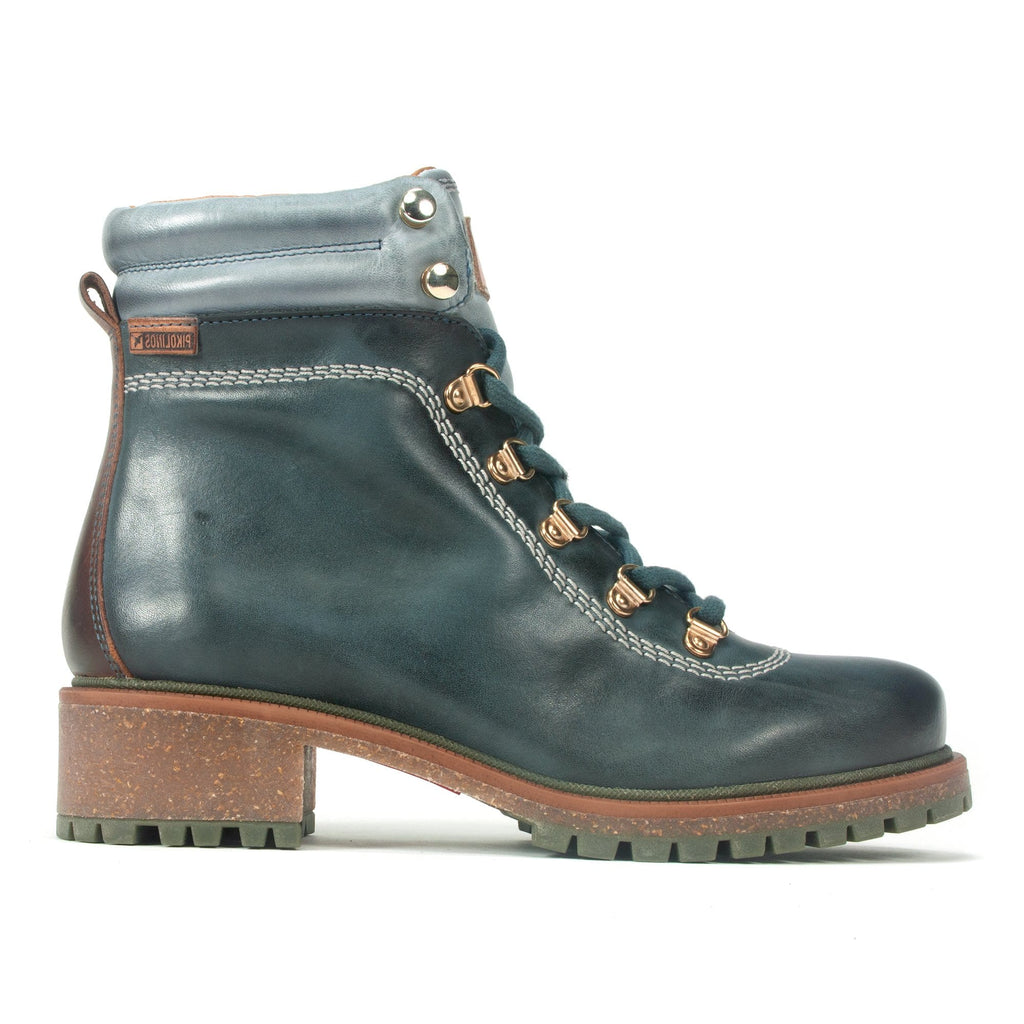 Pikolinos Womens Leather Aspe Combat Boot (W9Z-8634C2) Ocean | Simons Shoes