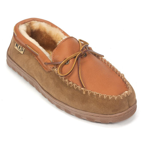 RJ's Fuzzies Men's Rainer Moccasin (208) Leather and Wool Slipper