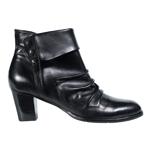 Regarde Le Ciel Sonia 21 Women's Ruched Leather Ankle Bootie Heel Shoe
