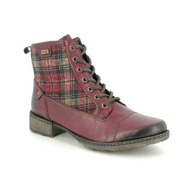 Remonte D4354 Women's Leather Tartan Lace Up Bootie 35 Wine | Simons Shoes
