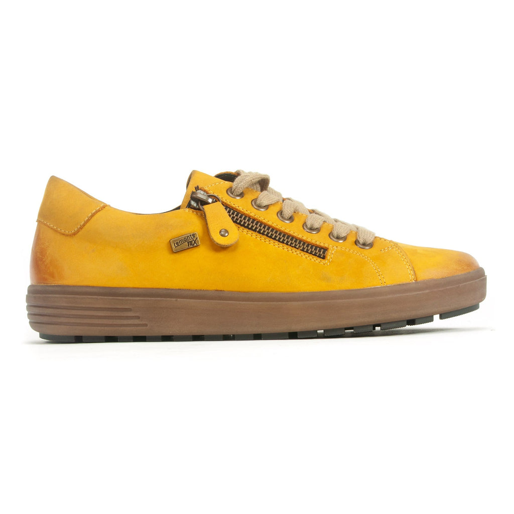 Remonte D4400 Women's Lace Up Leather Trainer Yellow | Simons Shoes