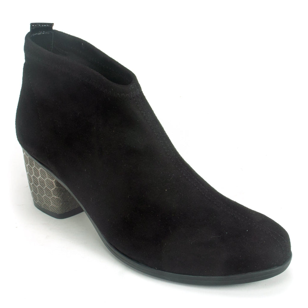 Remonte D5473 Women's Suede Low Cut Black Bootie | Simons Shoes