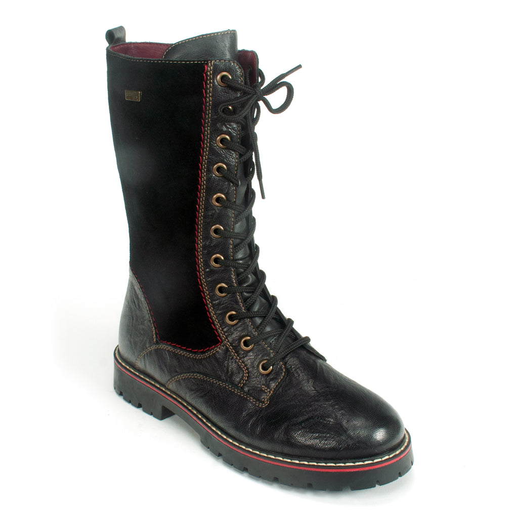 Remonte D9370 Women's Waterproof Winter Combat Boot 02 Black | Simons Shoes