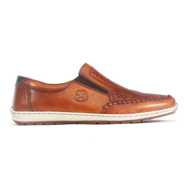 Rieker 08868 Mens Perforated Leather Slip on Loafer | Simons Shoes