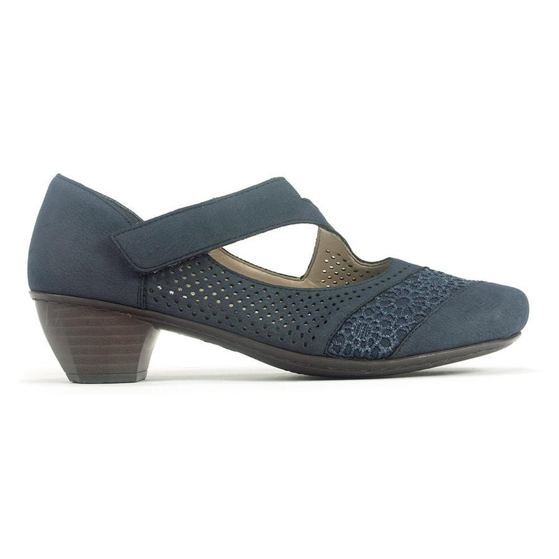 Rieker 41743 Womens Perforated Leather Mary Jane Heel | Simons Shoes