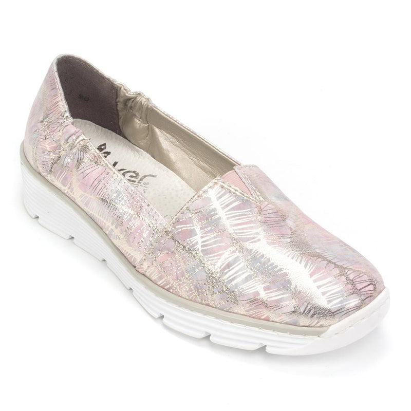 Rieker Leather Slip On | Metallic Wedge Moccasin (587L1) | Simons Shoes