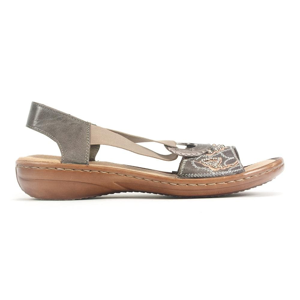 Rieker 608B9 Womens Slip On Leather Beaded Sandal | Simons Shoes