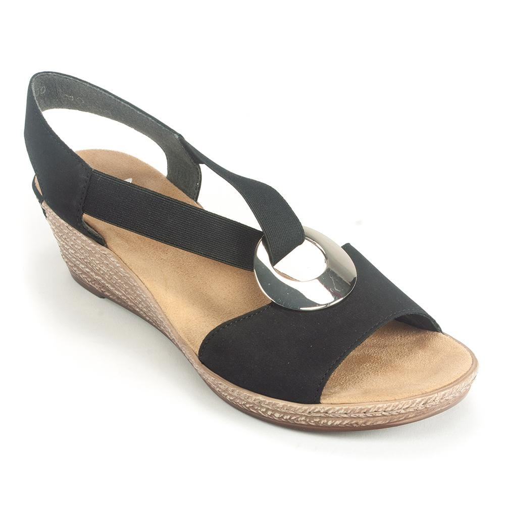 Rieker Leather Wedge Slingback Sandal (624H6) | Simons Shoes