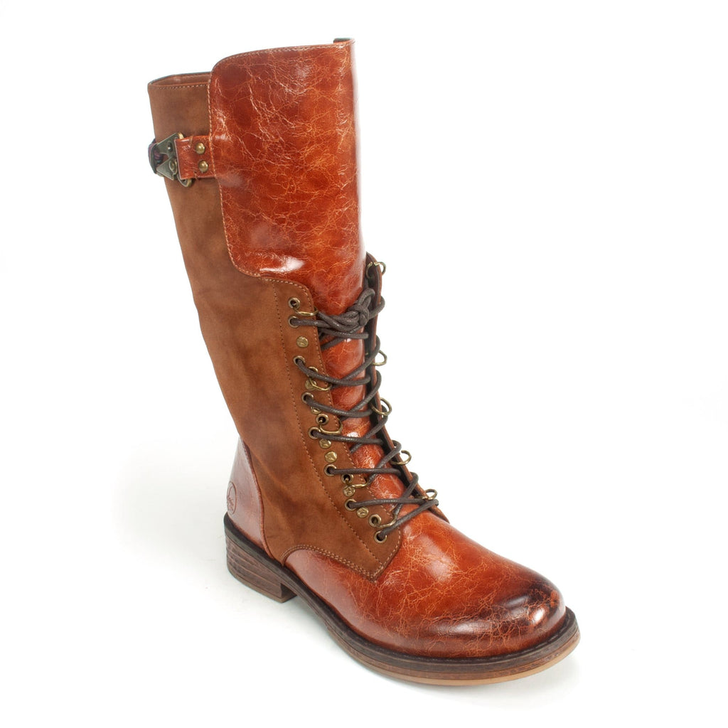 Rieker Franka Women's Corset Boot Synthetic Upper Cognac | Simons Shoes