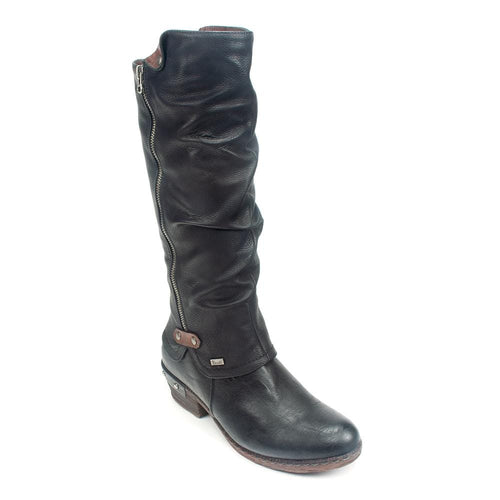 Rieker 93655 | Women's Faux Leather Heeled Tall Riding Boot | Simons