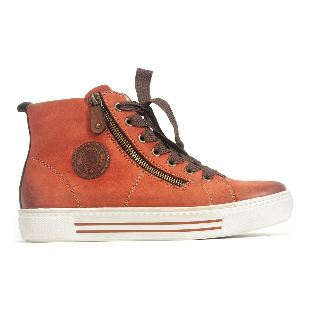 Remonte (D0972) Women's Zip Up Nubuck Leather Sneaker Orange | Simons Shoes