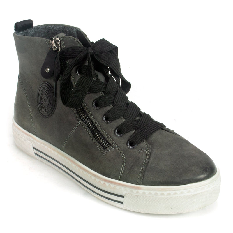 Remonte (D0972) Women's Zip Up Nubuck Leather Sneaker Smoke | Simons Shoes