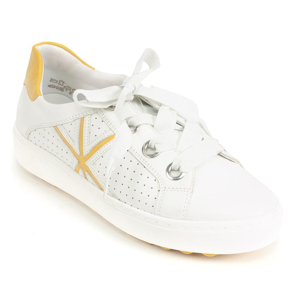 Remonte Leather White and Yellow Lace Up Sneaker (D1001)| Simons Shoes