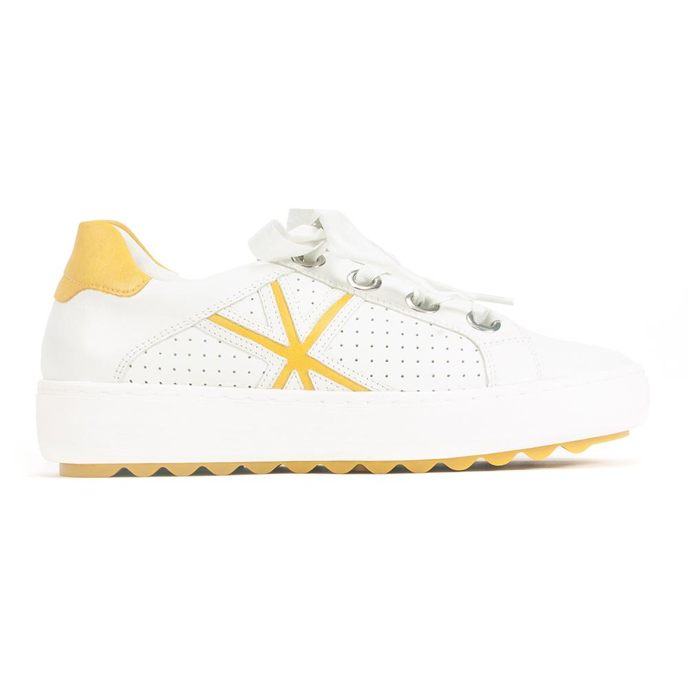 White and Yellow Lace Up Sneaker (D1001)