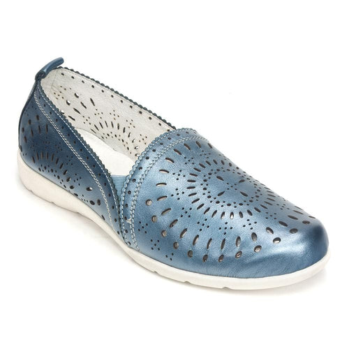 Remonte Women's D1927 Perforated Metallic Leather Slip On Shoe
