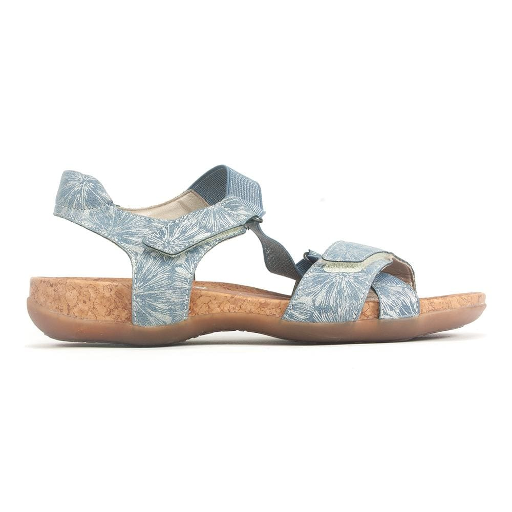 Remonte R3257 Womens Floral Leather Cork Elastic Sandal | Simons Shoes