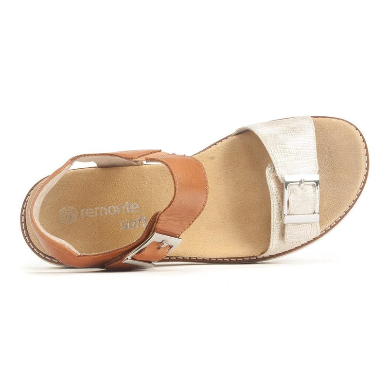 Remonte D2051 Womens Neutral Leather Buckle Sandal | Simons Shoes