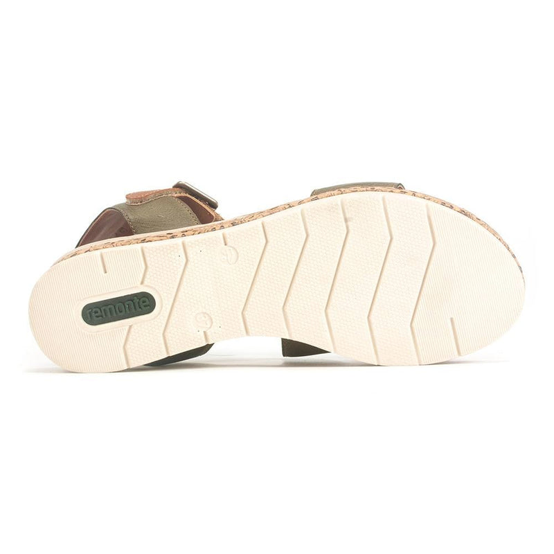 Remonte D3052 Womens Neutral Leather Wedge Sandal | Simons Shoes