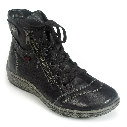 Remonte Womens Black Lace Up Sneaker Ankle Boot (D3874) | Simons Shoes