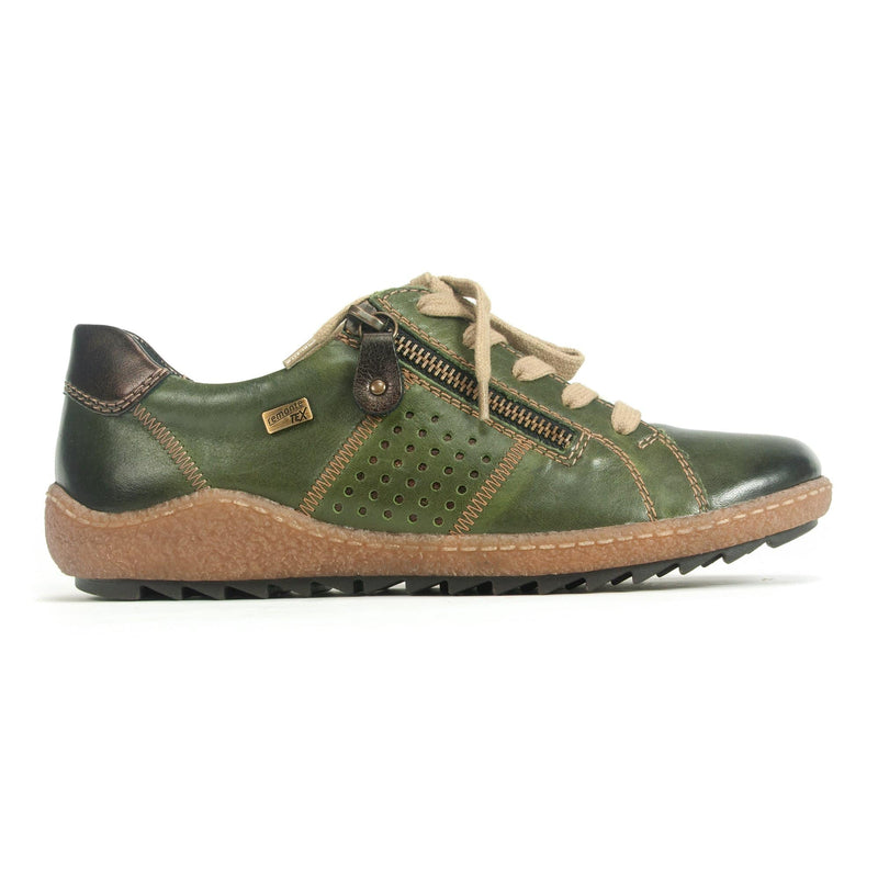 Remonte R4717 Women's Comfort Leather Zip Up Sneaker 54 Olive | Simons Shoes