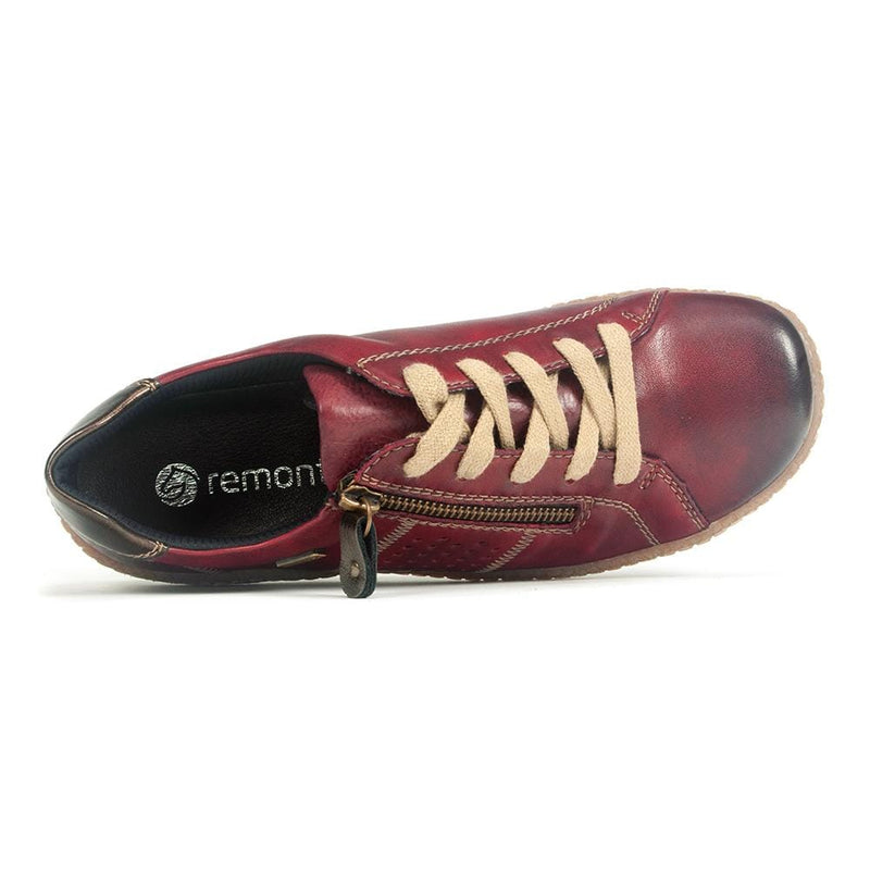 Remonte R4717 Women's Comfort Leather Zip Up Sneaker 35 Wine | Simons Shoes