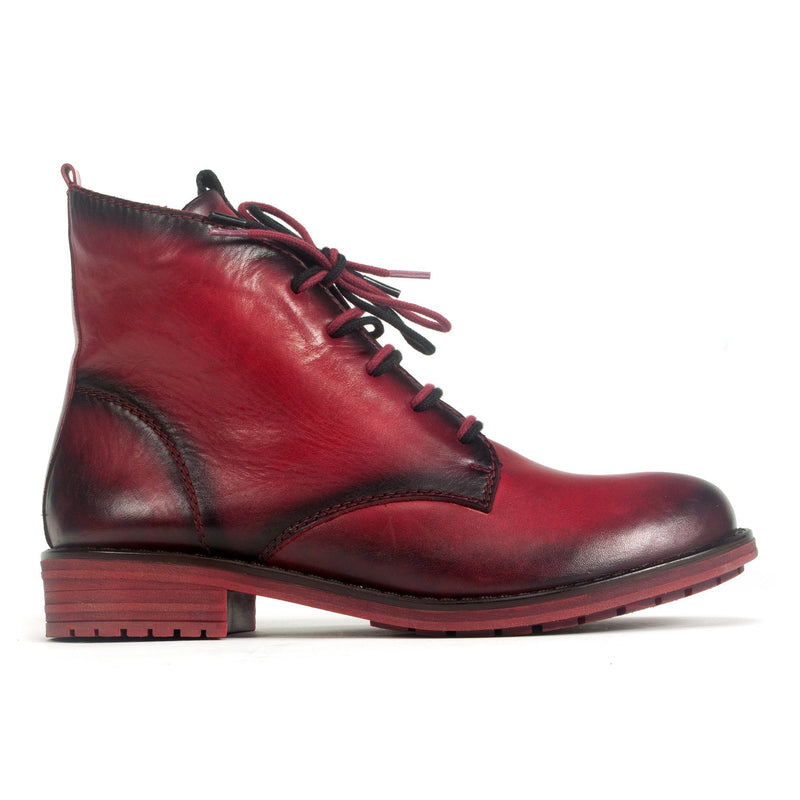 Remonte R5077 Women's Double Lace Boot Red Leather | Simons Shoes