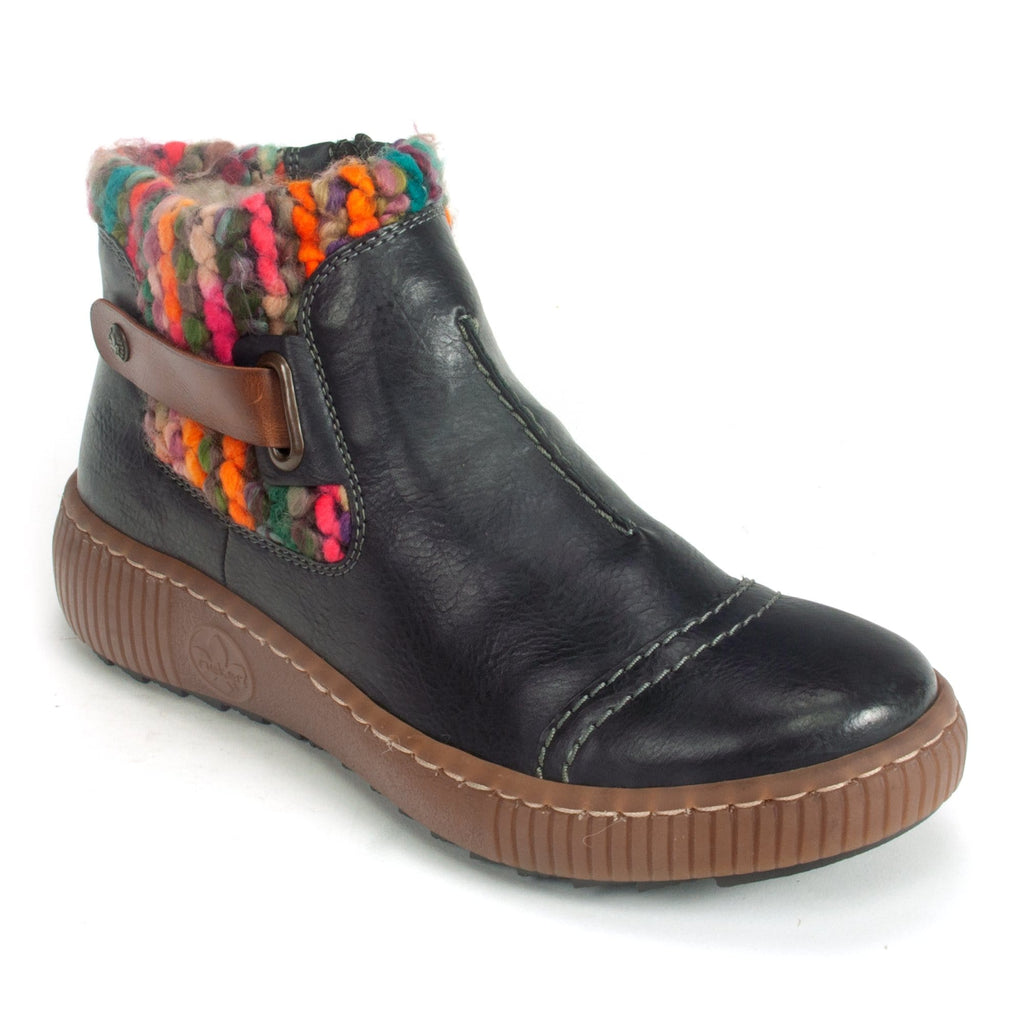 Rieker Bootie (Z6684) Women Multi Color Lamb Wool Lined Ozean | Simons Shoes