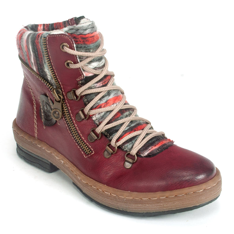 Rieker (Z6741) Women's Red 35 Side Zip Boot Synthetic | Simons Shoes