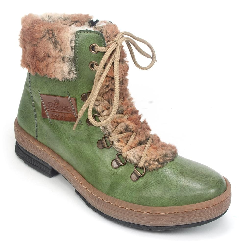 Rieker Z6743 | Women's Suede Colorful Yarn Laced Combat Boot | Simons
