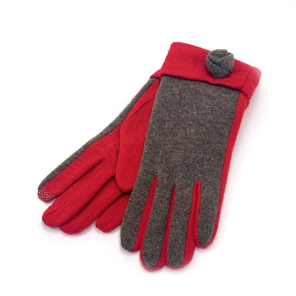 Santacana Women's Knitted Rose Gloves iTouch Finger Tip Red │ Simons Shoes