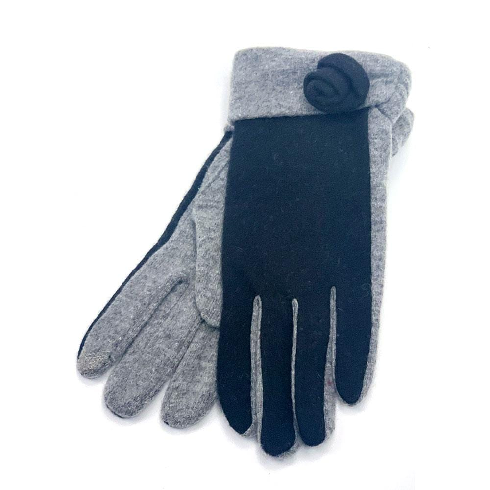 Santacana Women's Knitted Rose Gloves iTouch Finger Tip Black │ Simons Shoes