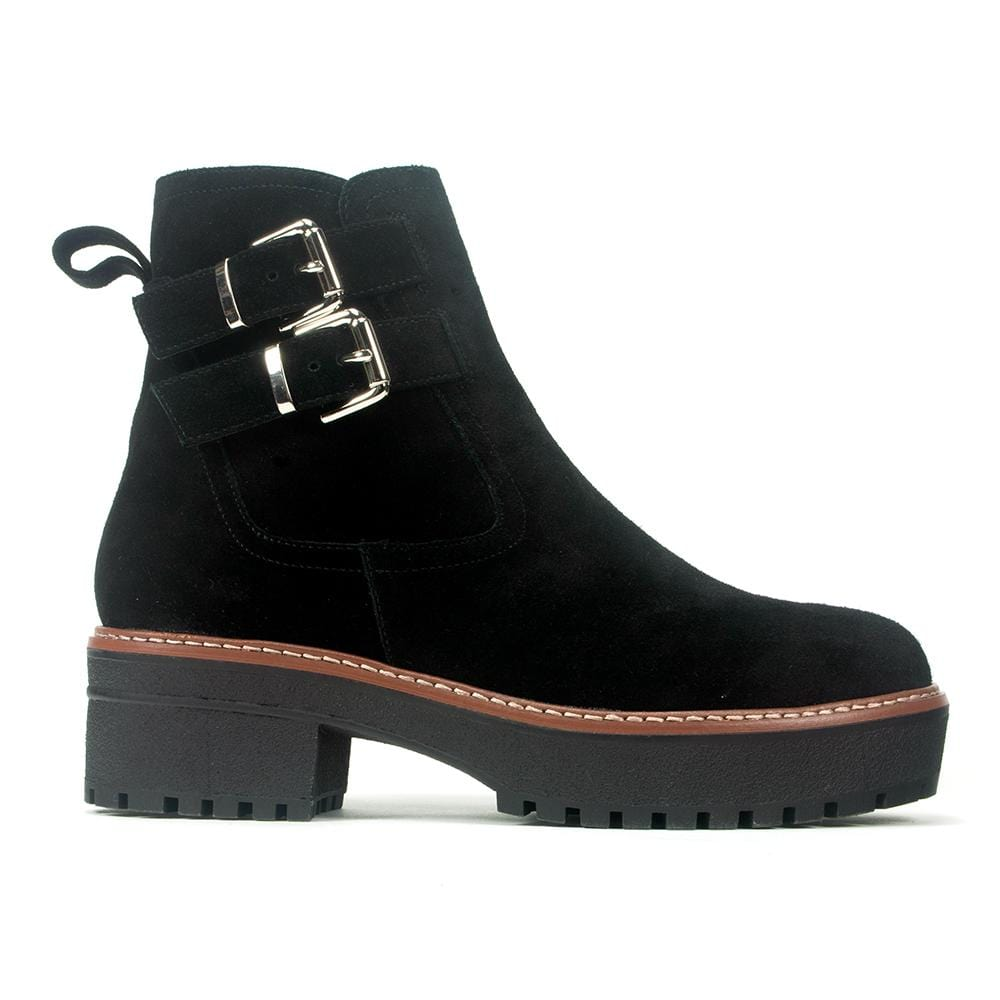 Valdini Kim | Women's Waterproof Suede Chunky Demi Boot | Simons Shoes