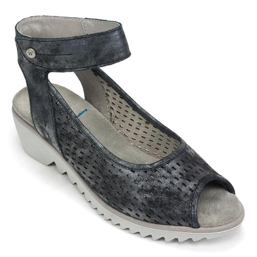 Wolky Women's 3821 Leather Low Wedge Ankle Strap Open Toe Sandal Shoe