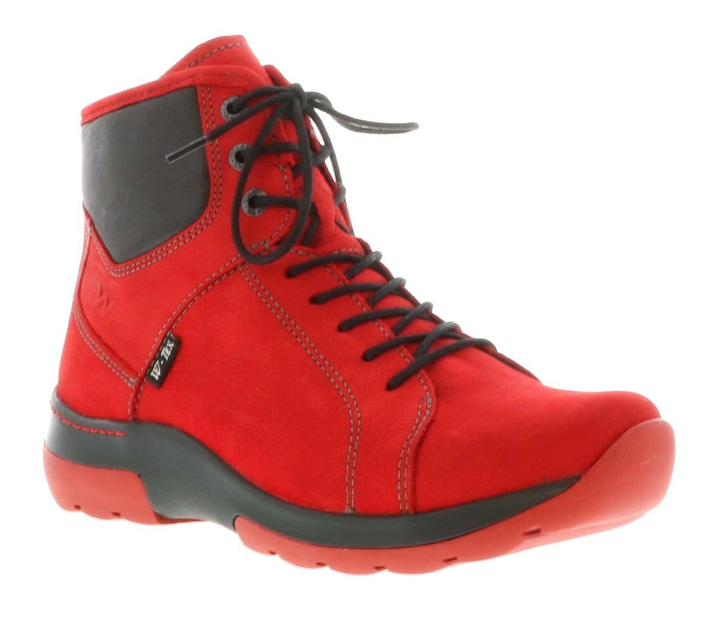 Wolky Ambient 3050 | Women's Leather Waterproof Boot Dark Red | Simons Shoes