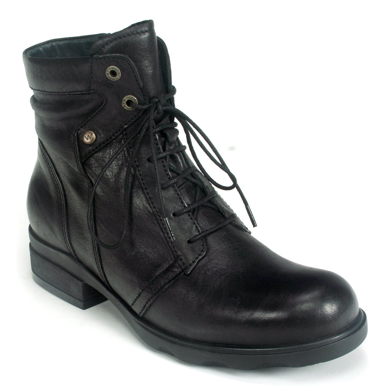 Wolky Center Women's Waterproof Leather Lace Up Boot Velvet Black | Simons Shoes