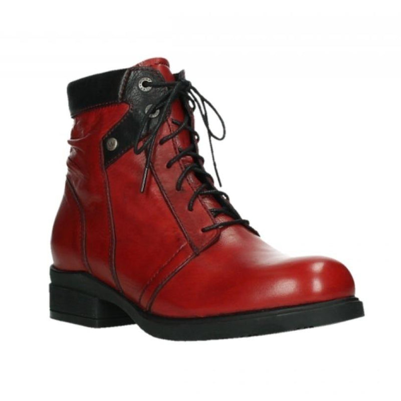 Wolky Center Women's Waterproof Leather Lace Up Boot 505 Velvet Dark Red | Simons Shoes