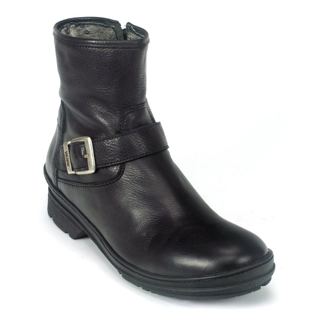 Wolky Nitra Womens Waterproof Lined Leather Ankle Boot Black Leather | Simons Shoes