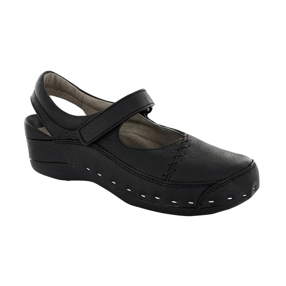 Wolky (6015) Women's Genuine Leather Strap Cloggy Black │ Simons Shoes