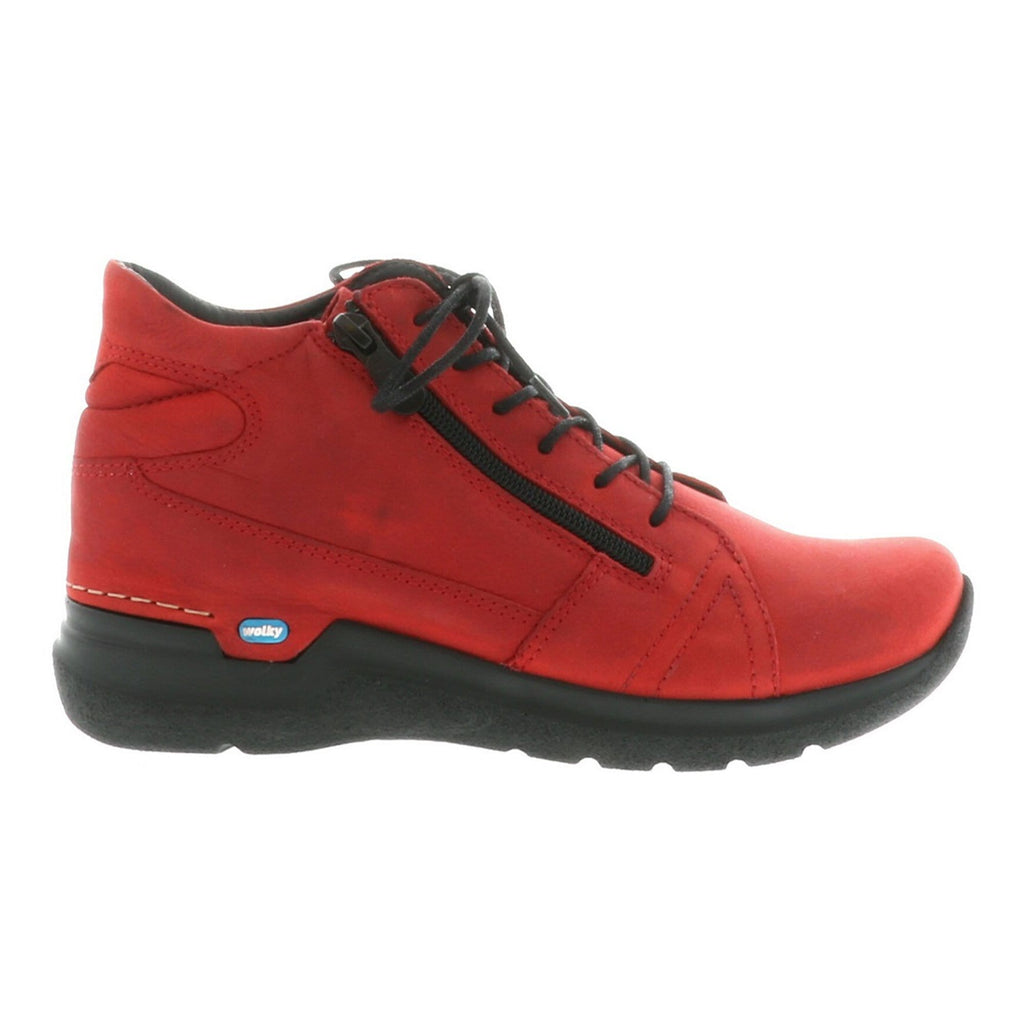 Wolky Why 6606 | Women's Nubuck Sneaker Bootie Dark Red | Simons Shoes