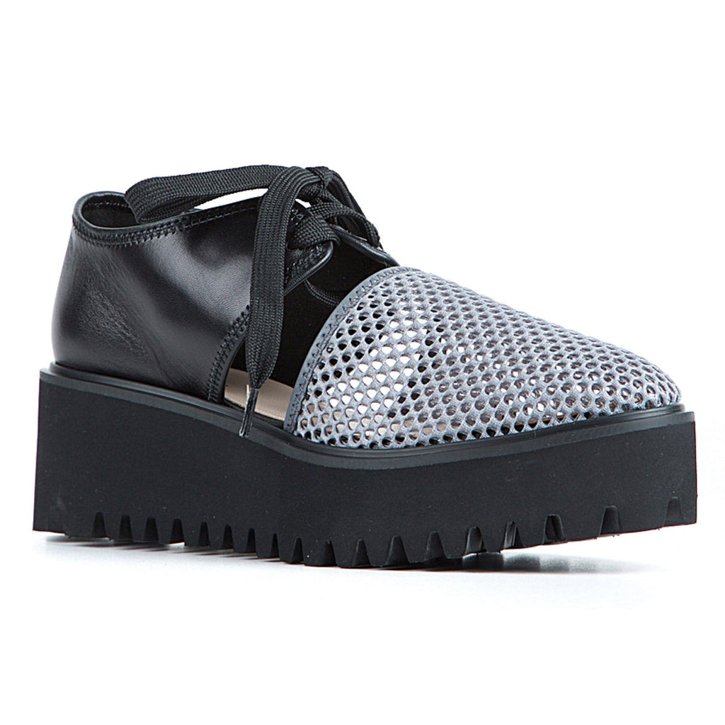 All Black Amazing Flatform Women's Mesh Lace Up Leather | Simons Shoes