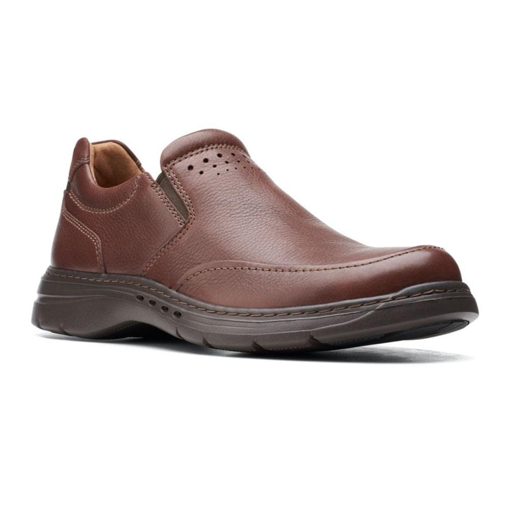 Clarks Un Brawley Step Men's Slip On Mahogany Leather | Simons Shoes