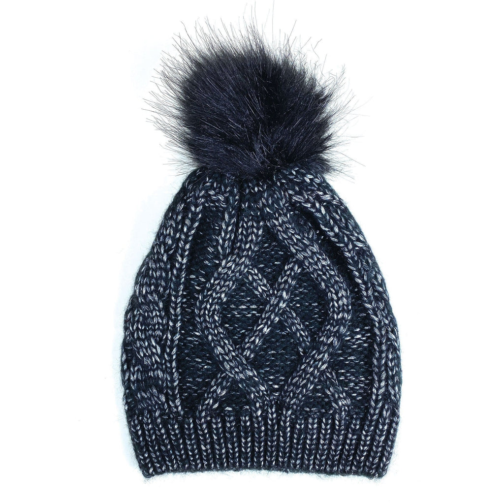 Cymbo Accessories Sheen Black Cable Knit Pom Hat | Simons Shoes