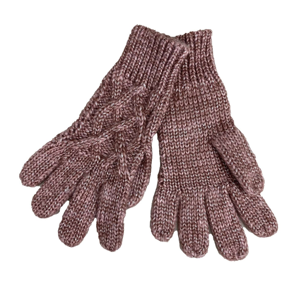 Cymbo Accessories Sheen Rose Cable Knit Gloves | Simons Shoes