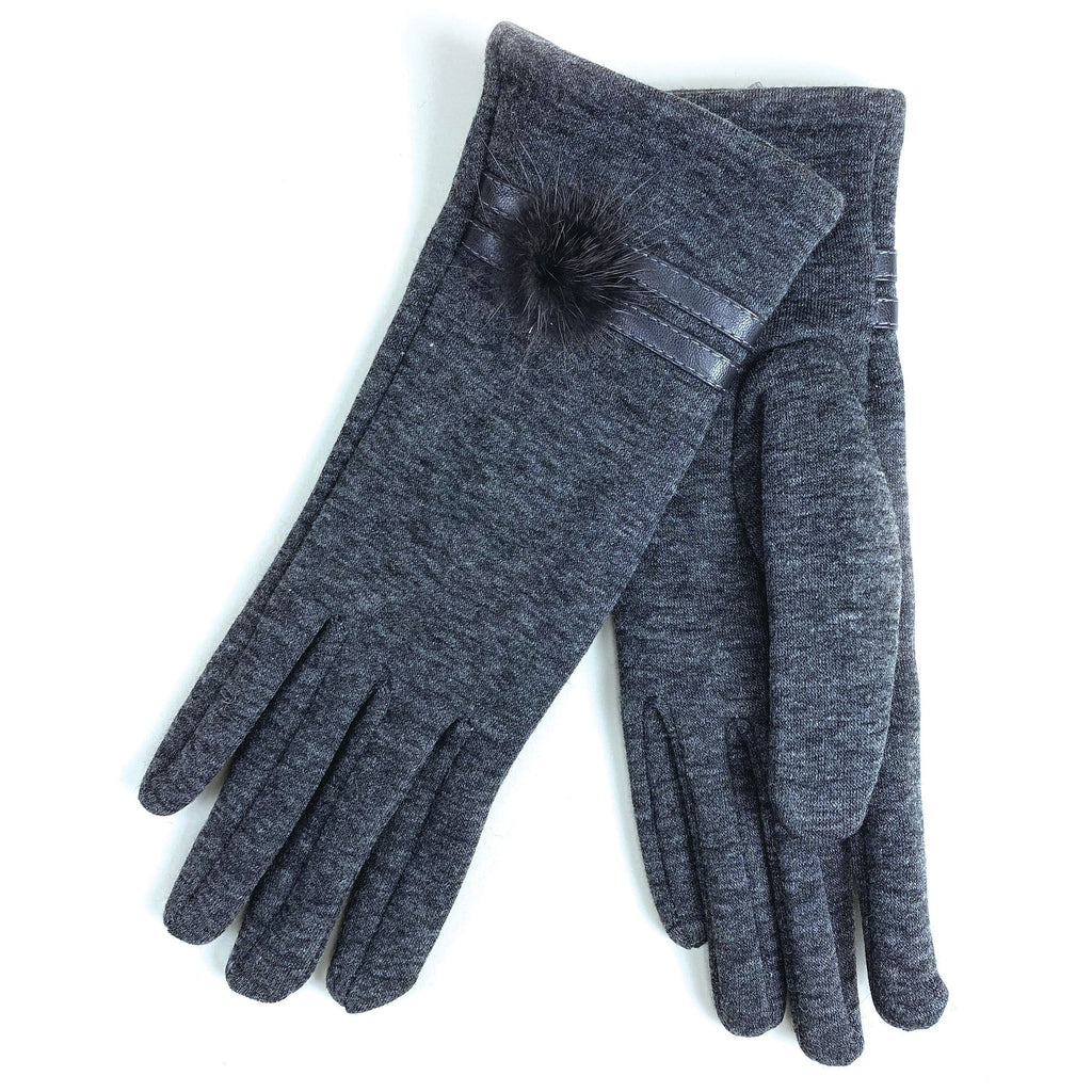 Cymbo Accessories Small Pom Grey Gloves | Simons Shoes