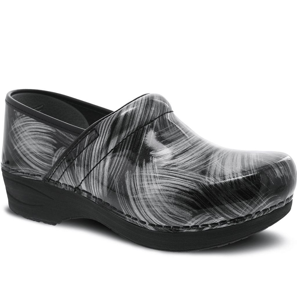 Dansko XP 2.0 Pewter Brush Women's Patent Leather Stapled Clog Shoe