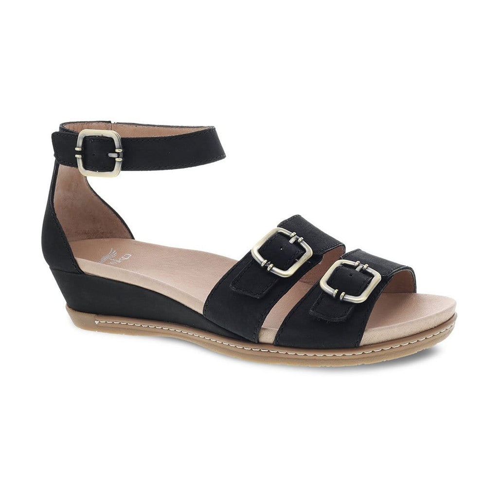 Dansko Astrid Womens Adjustable Leather Wedge Sandal Black Textured Leather| Simons Shoes