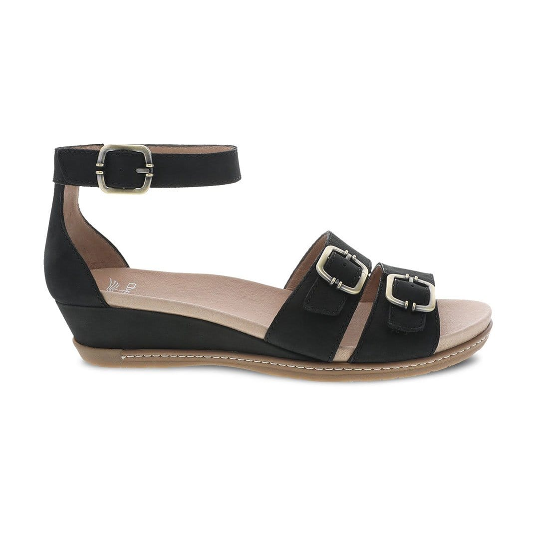 Dansko Astrid Womens Adjustable Leather Wedge Sandal Black Textured Leather | Simons Shoes