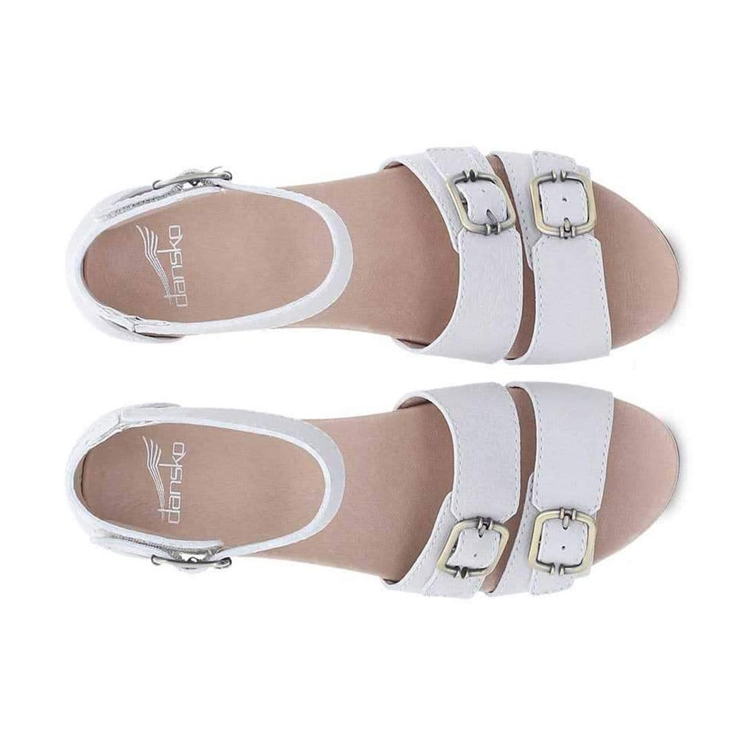 Dansko Astrid Womens Adjustable Leather Wedge Sandal Ivory Textured Nubuck | Simons Shoes